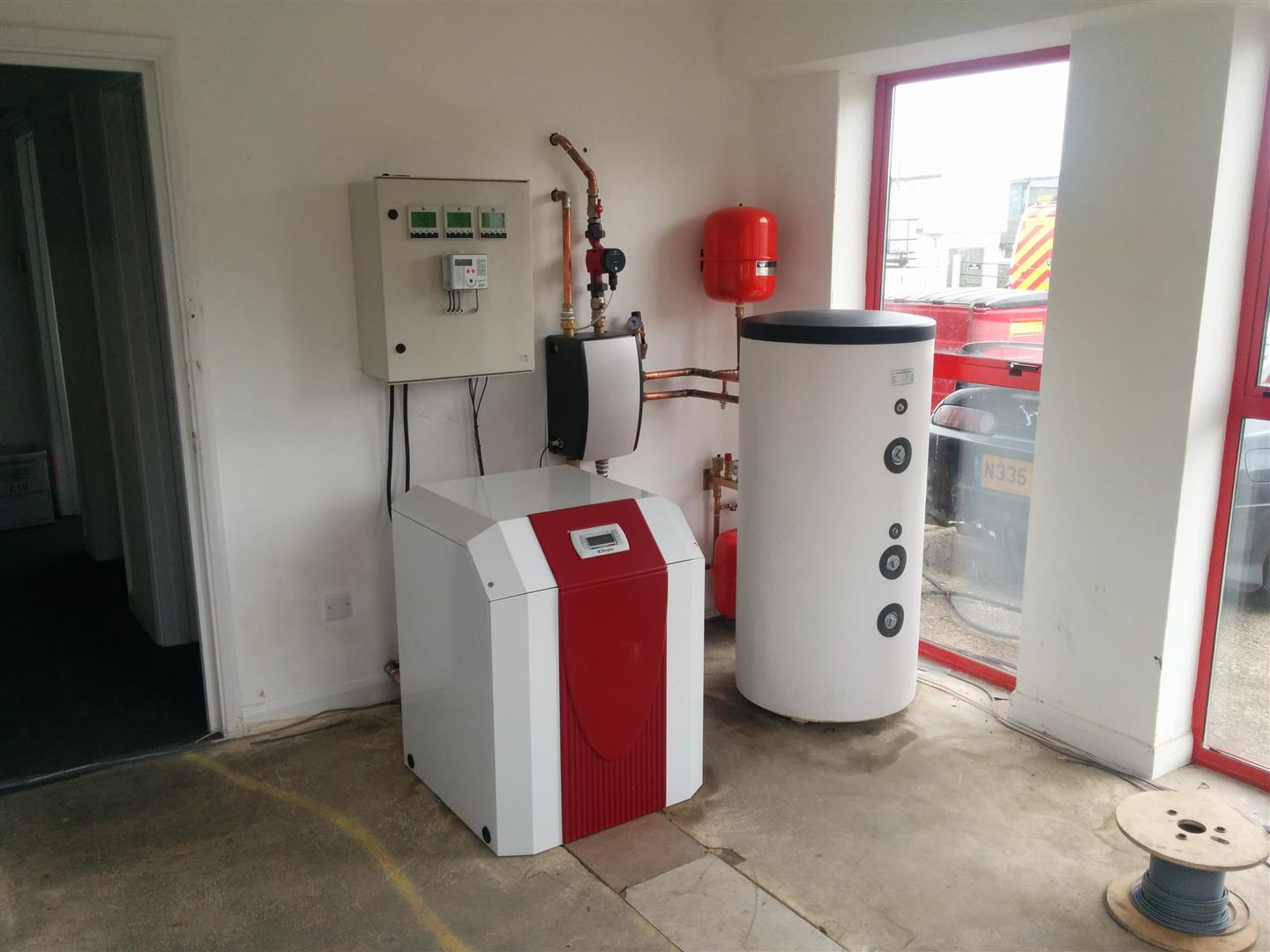 Installed ground source heat pump